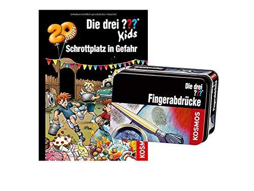 Die DREI ??? Kids Buch: Schrottplatz in Gefahr (Band 78 - Gebundenes Buch) + Forscherkästchen (Verschiedene Auswahl)
