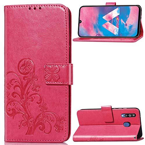 Luckyandery - Funda tipo cartera para Samsung Galaxy M30 (piel sintética, función atril, ranuras para tarjetas de crédito), color rojo