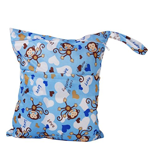 WINOMO con cerniera bambino panno pannolino borsa fasciatoio Wet Dry Bag Tote lavabile impermeabile riutilizzabile (blu)
