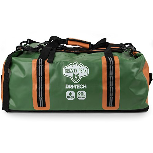 Grizzly Peak Dri-Tech Waterproof Dry Duffle Bag, IP 65 Lightweight Roll-Top Dry Bag with Backpacking Shoulder Straps & Pockets, Protect Personal Belongings for Camping, Outdoor Activities, & Gym Usage