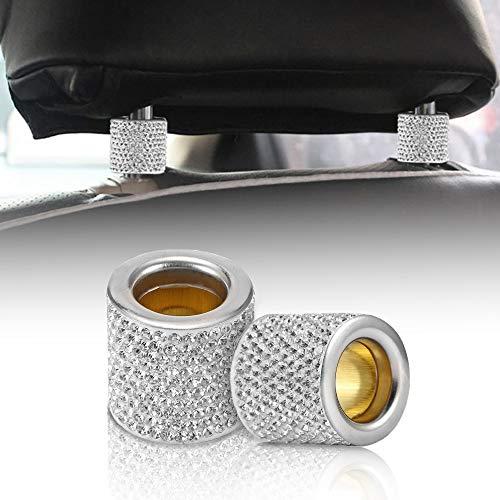 DEBEME Kristall Auto Sitz Kopfstütze Halsband Dekor Charms Diamant Bling Auto Innenraum Zubehör für Frauen Strass Universal (4pcs)