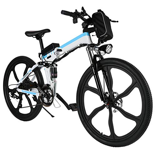 26 inch Folding Electric Bike Electric Mountain Bike with 36V Lithium-Ion Battery 250W Motor, 21 Speed Gear and 3 Working Modes Electric Bicycle (Ivory White)