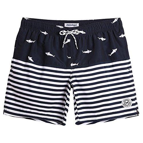 MaaMgic Badehose für Herren Jungen Badeshorts für Männer Schnelltrocknend Surfen Strandhose Surf Shorts mit Mash-Innenfutter MEHRWEG, Hai Navy Blau, S