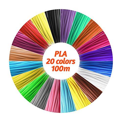Lesluar Filamenti PLA di alta precisione da 1,75 mm Filamento Eco-Friendly Materiale Filamenti 3D a penna 20 colori (328FT totale))