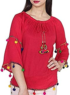 19e034fd76f974 indietoga Women Solid Red Rayon Off Shoulder Pom Pom Western wear top (Plus  Size M