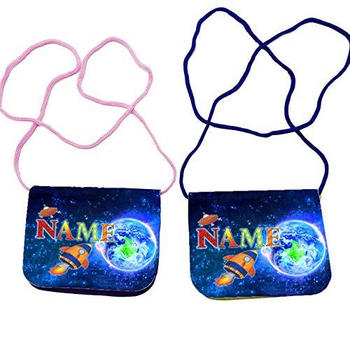 Kinder Brustbeutel mit Name und Schriftartwahl/Klettverschluss Schnur Klarsichtfach/Raketen Geldbeutel / 2 Farben