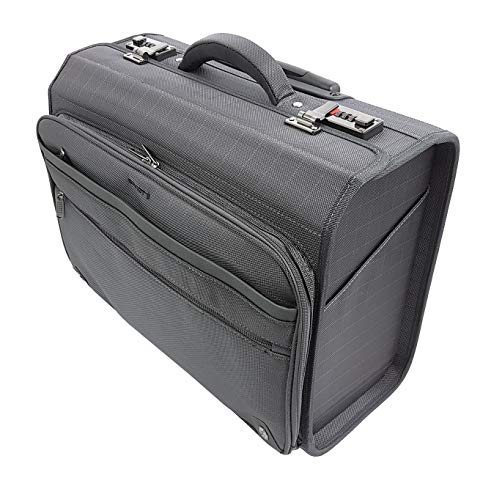 Davidts Nylon Pilot Case Laptop Bag Rolling Bag with Trolley/Wheels and 17 Inch Laptop Compartment Anthracite