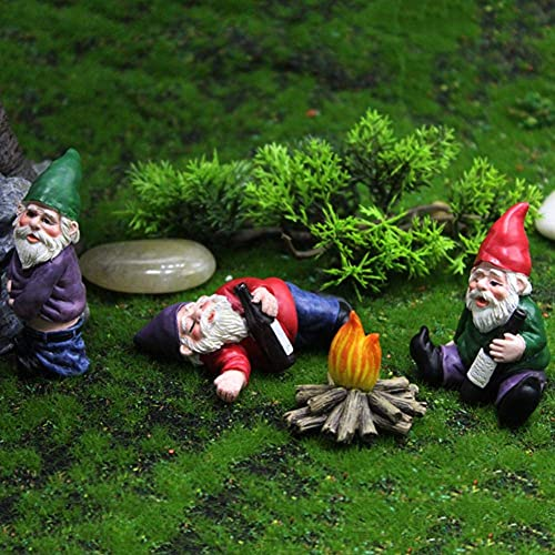 Garden Ornaments Outdoor Micro landscape, 4pcs Statue Drunk Gnome Family Resin Statue, Miniature Dollhouse Garden Ornament Christmas Art Gifts for Outdoor Indoor Lawn Patio Yard