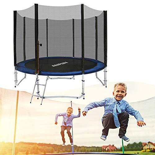 NAIZY Cama elástica de jardín, juego completo con red de seguridad, estera de salto acolchada, escalera de 366 cm de diámetro, certificado TÜV Rheinland GS