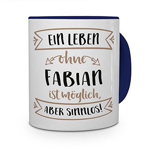 printplanet Tasse mit Namen Fabian - Motiv Sinnlos - Namenstasse, Kaffeebecher, Mug, Becher, Kaffeetasse - Farbe Blau