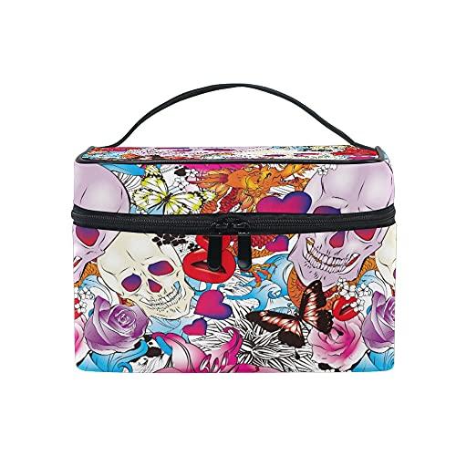 Trousse de maquillage avec imprimé panda - Grande poignée de voyage - Personnalisée avec compartiments - Pour femme et fille Colour006