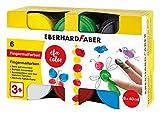 Eberhard Faber 578606 - EFA Color Fingerfarben-Set mit 6 Farbtöpfchen zu je 40 ml, schnelltrocknend und auswaschbar, zum Mischen und für kreativen Malspaß