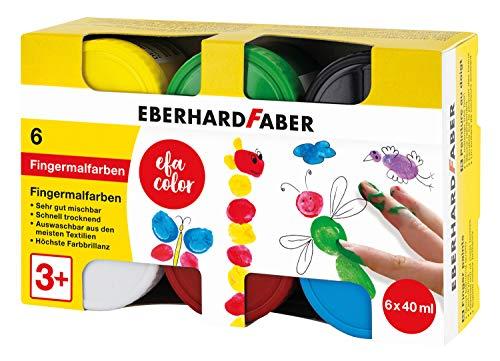 Eberhard Faber 578606 - Pintura de dedos para niños y bebés, 6 botes de 40 ml cada uno, en caja plegable