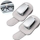 Soporte de Gafas de Coche Clip de Soporte Universal de Gafas de Sol de Visera de Coche Colgadero de Gafas de Cuero y Clip de Tarjeta de Boleto Montura de Anteojos para Coche (Beige)