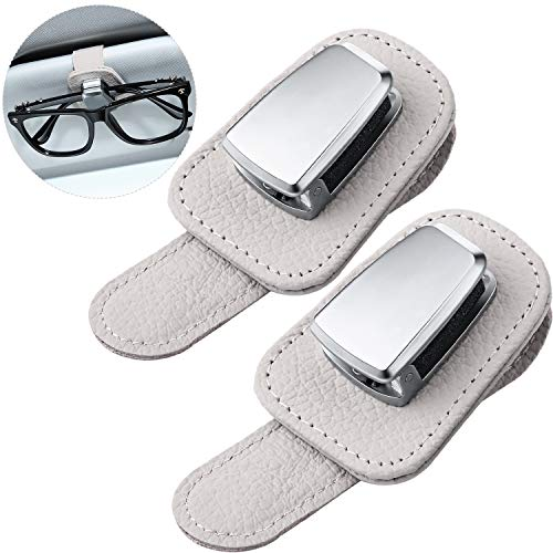 2 Packs Car Glasses Holder Universal Car Visor Sunglasses Holder Clip Leather Eyeglasses Hanger and Ticket Card Clip Eyeglasses Mount for Car (Beige)