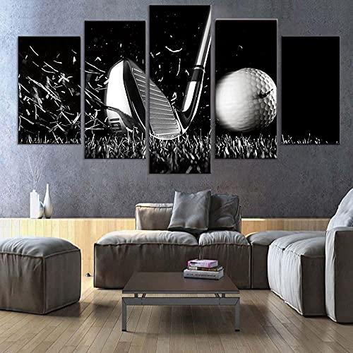 Cuadro Golf Bodegón En Blanco Y Negro XXL Impresiones En Lienzo 5 Piezas Cuadro Moderno En Lienzo Decoración para El Arte De La Pared del Hogar HD Impreso Mural Enmarcado
