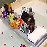 Bath Tray, Gray Bamboo Bathtub Tray with (iPad, Tablet, Kindle, IPad, Phone) Bath