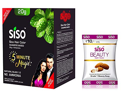 Siso 5 Minute Hair Color Shampoo, Natural Black 20gm (Pack of 10) - Free Beauty Fairy Touch Soap 51g