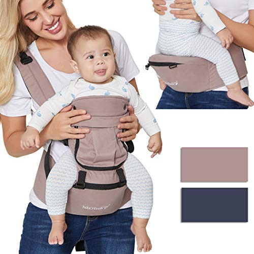 Baby Carrier Hip Seat 100% Cotton - Pocket & Removable Hoodie/Head Support - Adjustable & Breathable - Neotech Care Brand - for Infant, Child, Toddler - Grey