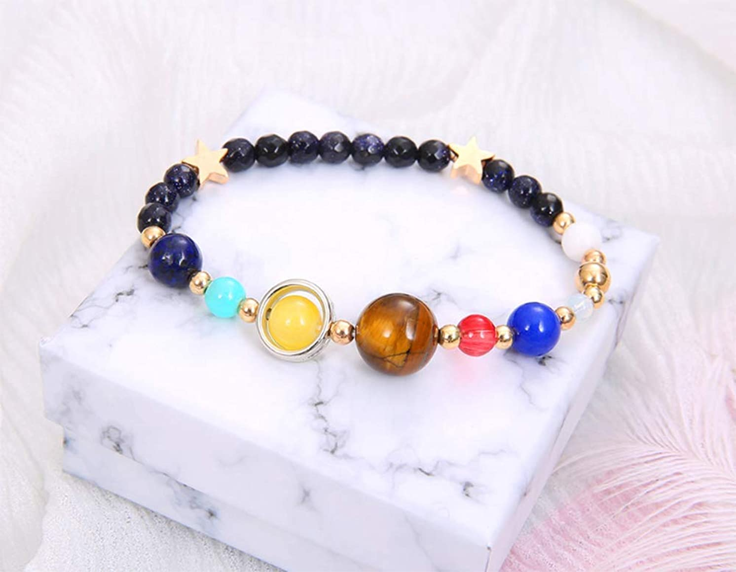 Aimys Women Stone Bead Charm Bracelet Universe Galaxy The Eight Planets in The Solar System Guardian Star Bracelets The Nine Planets Natural Lava Rock Beads (Rubber Band)