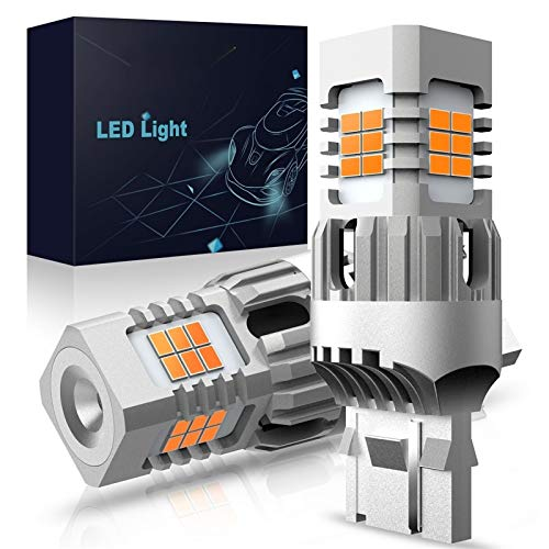 GSDGBDFE 2 unids No Hyper Flash T20 W21W WY21W 7440 7440NA LED Bombillas de la señal de la señal del LED Error de CANBUS Lámpara de automóvil Lámpara Amber