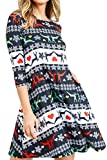 ICONOFLASH Women's Ugly Christmas Sweater Dresses with Pockets 3/4 Sleeves Crew Neck Swing