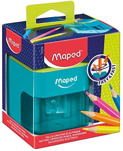 Maped - Taille-Crayon électrique à piles - 1 trou Diamètre Standard 6 à 8 mm - Taillage automatique et rapide - Avec réservoir - Bicolore