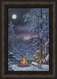 Home Cabin Décor Fire & Ice by Kim Norlien 16x22 Northern Lights Winter Night Stars Lake Campfire Snow Shoes Full Moon Framed Art Print Picture