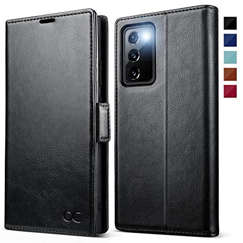 OCASE Handyhülle kompatibel für Samsung Galaxy Note 20 Hülle, [Premium PU Leder] [Standfunktion] [Kartenfach] [Magnetverschluss] Flip Hülle Schutzhülle für Galaxy Note20 5G Tasche Schwarz