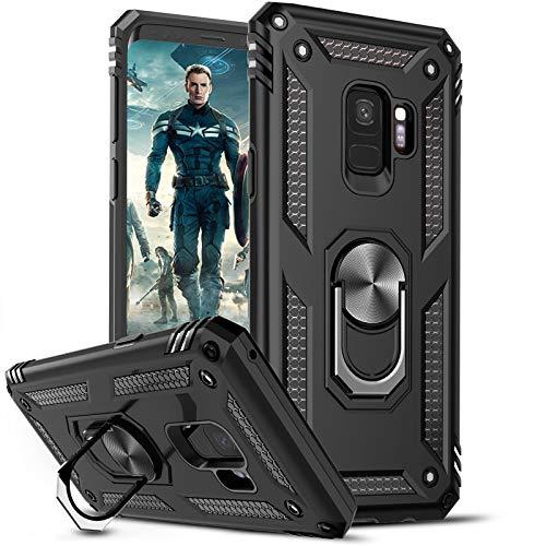 LeYi Funda Samsung Galaxy S9,Armor Carcasa con 360 Grados Anillo iman Soporte Hard PC Silicona TPU Bumper Antigolpes Case para Movil Samsung Galaxy S9,Negro