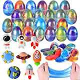 JOYIN 24 Galaxy Slime Eggs Pre Filled with Toys for Easter Party Favors, Stress Relief Slime for Easter Basket Stuffer, Pre Filled Easter Eggs