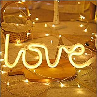 Love Neon Signs, LED Neon Light for Wedding Party Supplies, Girls Room Decoration Accessory, Wall/Table Decoration, Kids Gifts,USB and Battery Operated(White)
