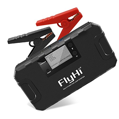 FlyHi 800A 18000mAh Portable Car Jump Starter(Up to 6.5L Gas, 5.2L Diesel Engine) 12V Emergency Battery Booster Pack with Built-in Smart Protection, Phone Power Bank(Quick Charge) with LED Flashlight