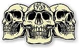 sticker licker Autocollant Vintage en Vinyle pour Voiture Motif 3 crânes Gothiques de l'année 1958 Café Racer Casque de Moto Motard Hotrod Style rétro 120 x 70 mm