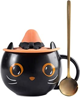 Svart kattkopp med häxa lock- och skedset, söt unik keramisk kaffemugg kattkopp gåvor för halloween kattälskare