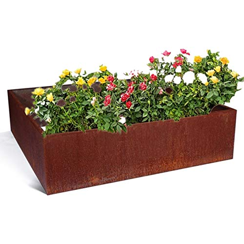 Excellent Fab Outdoor Solid Corten Steel Raised Garden Bed Box Metal Vegetable Patio Backyard Grow Flowers Herb Elevated Container Planter 25 Gallon 23.6 X 15.75 X 15.75 inches