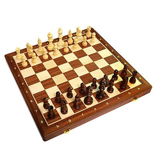 Juego de ajedrez Ajedrez incrustado con Piezas de Madera Maciza para la Competencia de iniciación Juegos portátiles para Adultos y niños Trave
