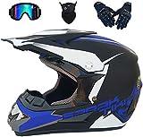 ODODDE Casco de Carretera Motocross Quad Crash Casco Casco Dirt Bike MX ATV Adult Motorbike Helmet Guantes, Gafas, Máscara 4 Pieza Set,L