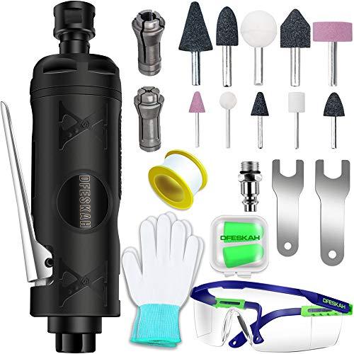 DFESKAH Druckluft Stabschleifer, gerader pneumatischer Schleifer, Geradschleifer Schleifgerät Set mit 10 Schleifstifte (170mm, 22000rpm, 6,3Bar)