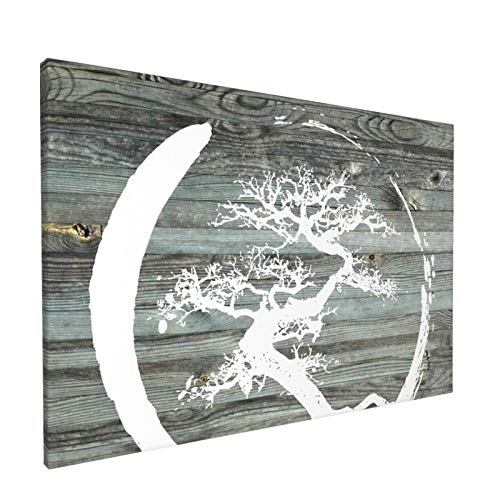 Canvas Wall Art with Bonsai Tree Japanese Zen Painting Print, 12' x 18' Pictures Paintings Artwork Framed for Living Room Home Decoration