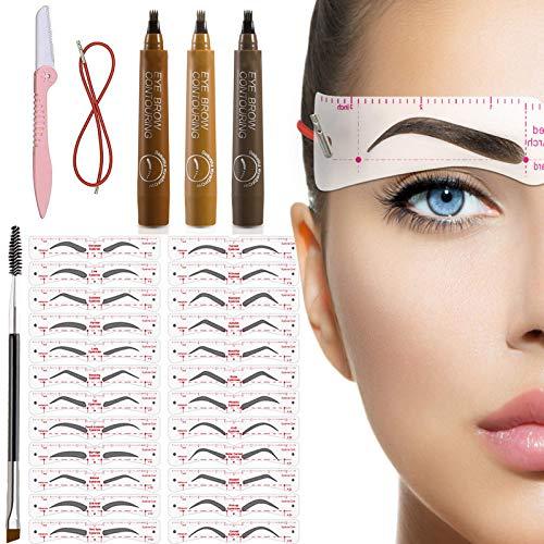 TEUVO 24 Stile Augenbrauen Schablone für Anfänger 3 Minuten Make-up, Wiederverwendbar Augenbrauen Schablonen Set mit 1 Pinsel 1 Trimmer und 3 Augenbrauenstifte