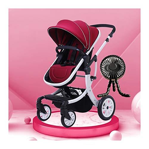 JIAX Cochecito De Bebé 3 Pieza Cochecito Reborn Ccochecito De Aleación De Aluminio Plegable con Ventilador para Bebé, Toldo Ajustable, Asiento Variable Y Sillón Reclinable (Color : Style 1)