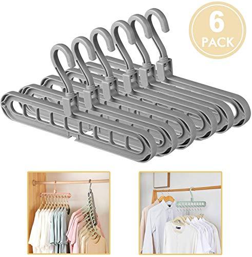 Acslam 6 Stück Kleiderbügel Platzsparende, Multi Kleiderschrank Platzsparend Stabil Kleiderbügeln Organizer Schrank Bügel Raumsparbügel Clothes Hanger mit 9 Löchern (Grau-6 Stück)