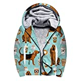 UNSUWU Men's Soft Fleece Athletic Zip Up Hoodie Heavyweight Sherpa Lined Hooded Sweatshirt Bloodhound Fabric Dogs and Coffees Novelty Pullover Casual Long Sleeve Jackets with Pocket, M