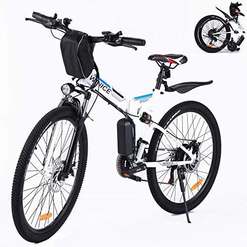 VIVI EBike Klapprad 26 Zoll Mountainbike Pedelec mit 250W Motor, 36V 8Ah Lithium-Ionen Akk 21 Gang Pedelec Elektrofahrrad Klapp für Herren und Damen (26 Zoll-Schwarz)