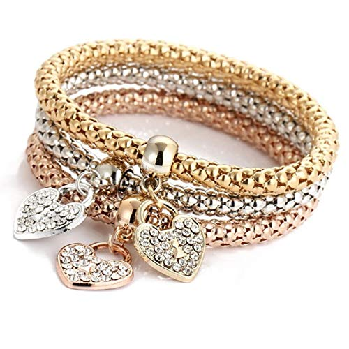 QFJCNZ Armband 3 Teile/Satz Mode Frauen Gold Silber Rose Kristall Herz Anhänger Armbänder Set Strass Armreif Schmuck
