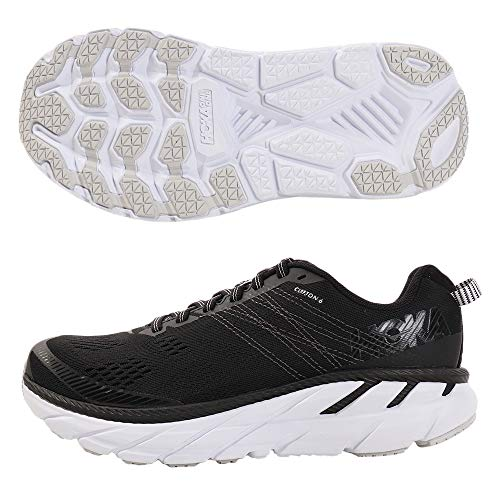 Hoka Women's One One Clifton 6 Running Shoe Black/White Womens 11