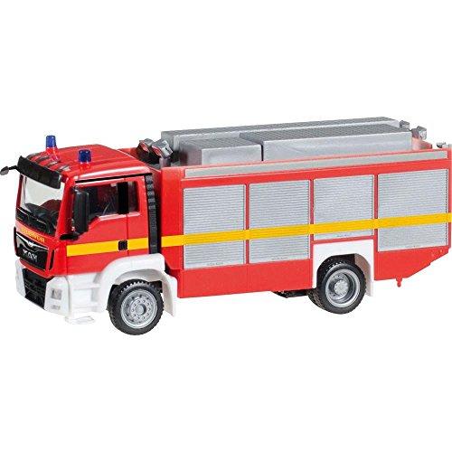 herpa 091077-002 – Löschfahrzeug RW2, Rüstwagen Man TGS M Euro 6, Feuerwehrauto, Rotes Miniatur Auto, Modellbau, Miniaturmodelle, Sammlerstück, Kunststoff - Maßstab 1:87