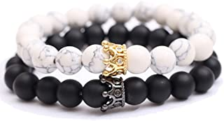 MINGZE Bracciali in Pietre Naturali - Re & Queen Corona Bracciali Coppia sua e la sua amicizia braccialetto perline 8mm