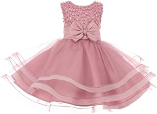 6106ec2139c Cinderella Couture Baby Girls Dusty Rose Pearl Sequin Tapered Easter Flower Girl  Dress 6-24M